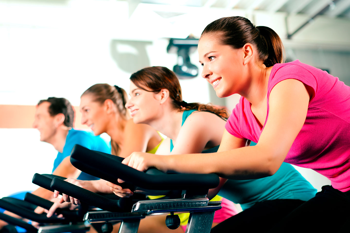 3 Women And A Man In A Spinning Class